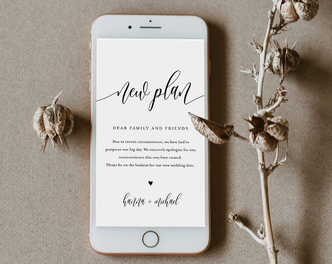 Postponed Wedding Date Announcement, New Plan, Wedding Postponed, Evite, Text Message, 100% Editable, INSTANT DOWNLOAD #008-104PA