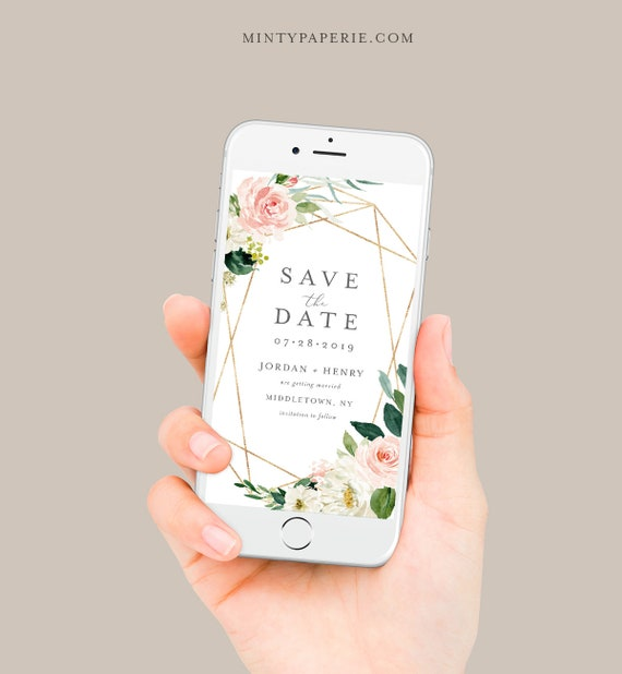 Save the Date, Blush Boho Floral Electronic Invitation, Evite, Digital, Text Invite, Editable Text, Templett, Instant Download #043-105SDD