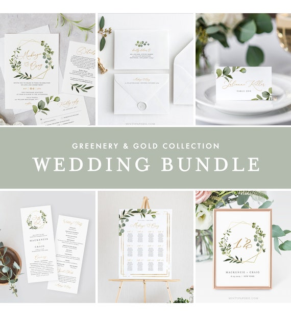 Greenery & Gold Wedding Bundle, Wedding Essential Templates, Invitation Suite, 100% Editable Text, Instant Download, Templett #056-BUNDLE
