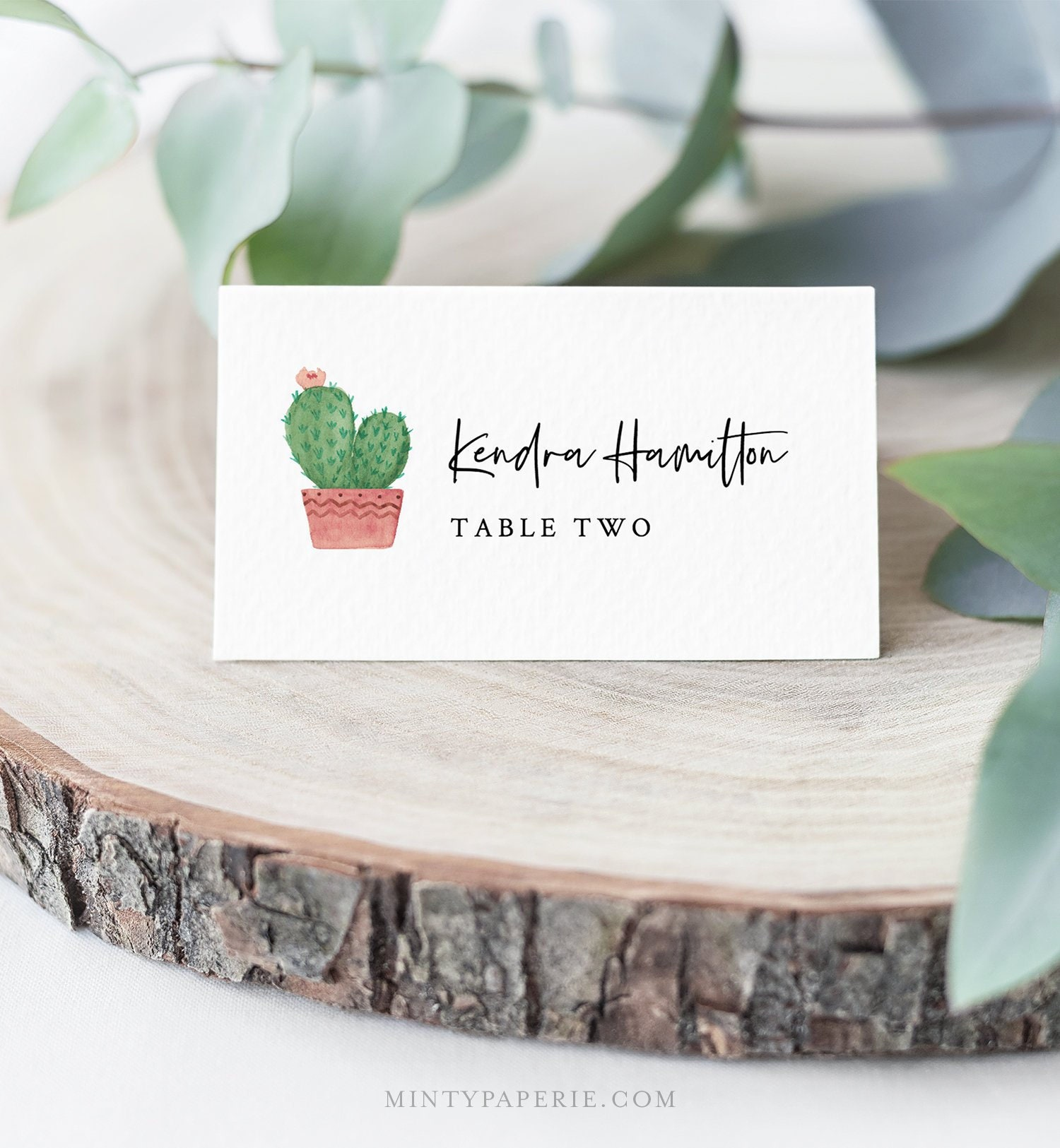 Cactus Place Card Template Instant Download Printable Succulent Wedding Escort Card Name Card Seating Card Editable Text 086 141pc
