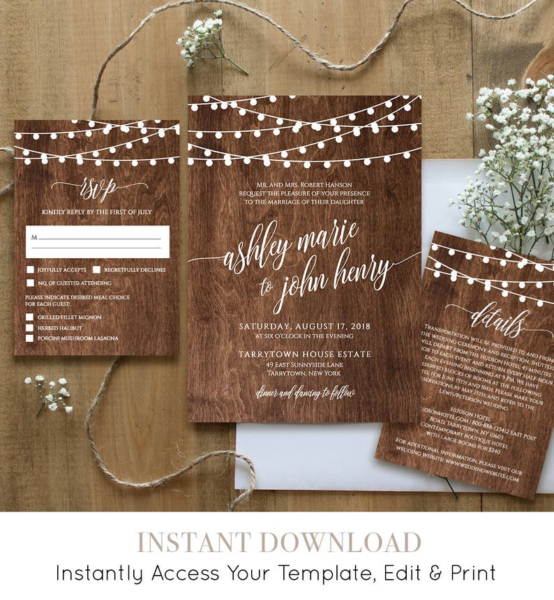 Wedding Invitation Template Printable Rustic Wood String Lights Invite Set RSVP Details Instant Download Fully Editable DIY 014