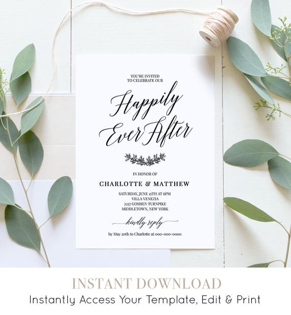 Wedding Reception Party Invitation, Post Wedding Celebration, After Party Invite, 100% Editable Template, Instant Download, DIY #034-104WR