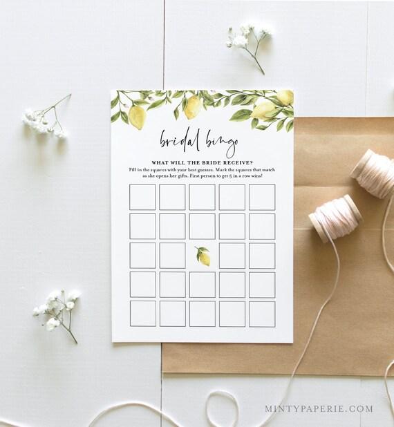 Bridal Bingo Game, Bridal Shower Game Printable, Summer Bridal Shower, Citrus Lemon, Editable, Instant Download, Templett #089-201BG