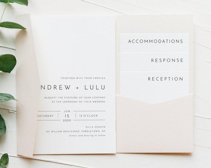 Modern Pocket Fold Wedding Invitation Set, Minimalist Invite & Enclosure Cards, Instant Download, 100% Editable Template, Templett #094PF