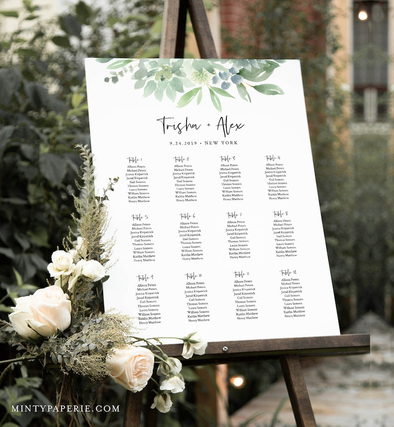 100/% Editable Text Printable Bridal Shower Seating Sign Templett #075-235SC Succulent Wedding Seating Chart Template Instant Download