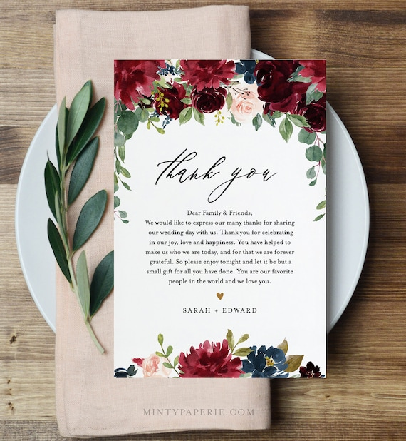 Wedding Thank You Letter, Napkin Note, In Lieu of Favors Card Template, Wedding Menu Thank You, Boho Burgundy, INSTANT DOWNLOAD #062-117TYN