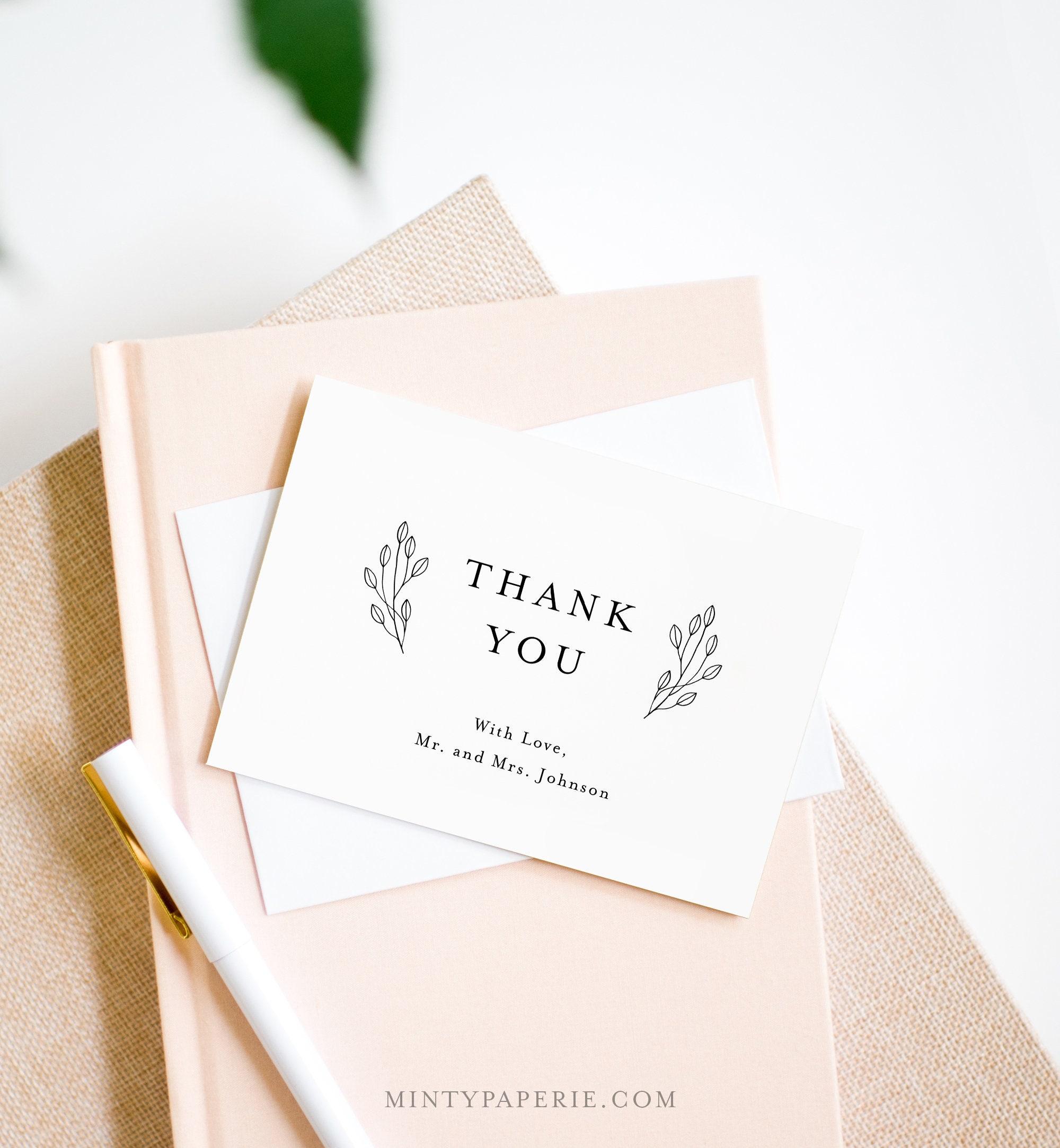 rustic thank you folded card printable minimalist wedding