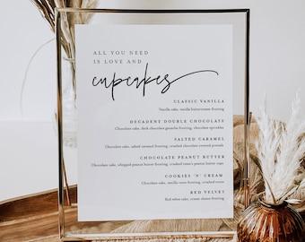 Cupcake Menu Sign, Printable Minimalist Wedding Cupcake Bar Station, Editable Dessert Template, Instant Download, Templett #0009-106DM