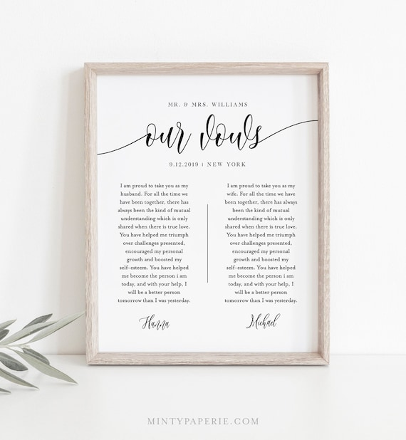 Wedding Vow Template.Anniversary Gift 1st Year Paper Wedding Vow Keepsake Wall Art 100 Editable Template Instant Download 8x10 11x14 16x20 008 143ls