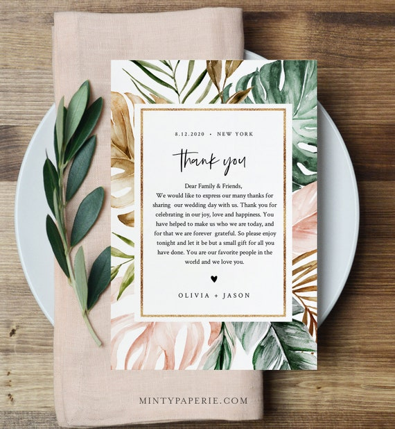 Tropical Thank You Letter, Napkin Note, Printable Wedding Menu Thank You, Editable Template, INSTANT DOWNLOAD, Templett, 4x6 #087-131TYN