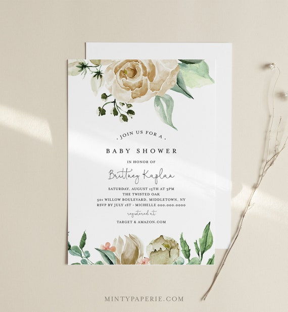 Baby Shower Invitation, White Rose and Florals, Editable Template, Boho Greenery Baby Shower Invite, Instant Download, Templett #057-134BA