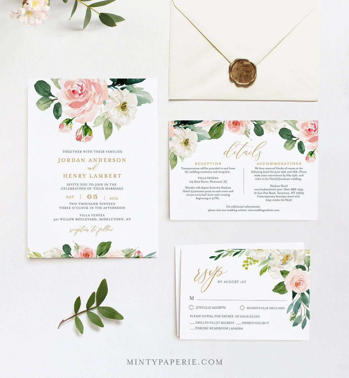 Editable Wedding Invitation Template Printable Invite RSVP Details