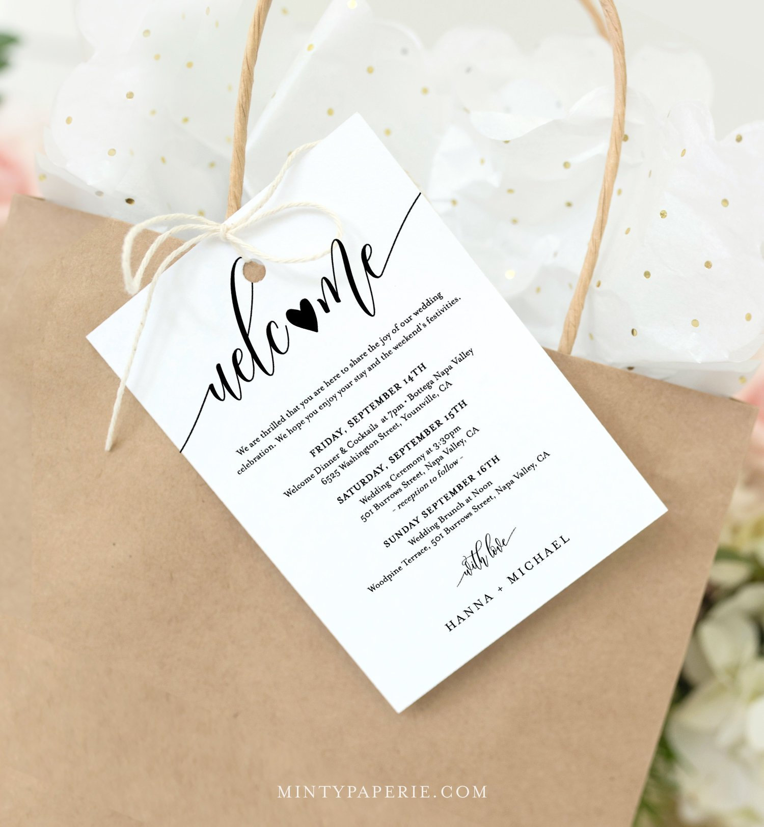 Editable Welcome Bag Tag, Rustic Welcome Letter and