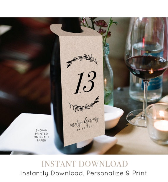 Printable Table Number Template for Wine Bottle, Wedding Wine Tag, DIY Table Card, Instant Download, Editable Text, PDF File, Digital #102WT