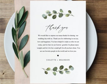 Thank You Letter Template, Wedding Reception Thank You Note, Instant Download, Printable In Lieu of Favor Card, Fully Editable #082-145TYN