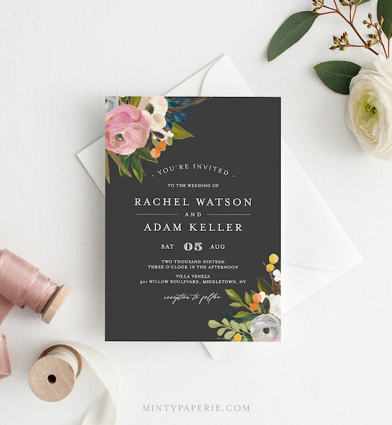 Wedding Invitation Set Template, Instant Download, Printable Fall Wedding Invite Suite with RSVP & Details, 100% Editable Text #054B