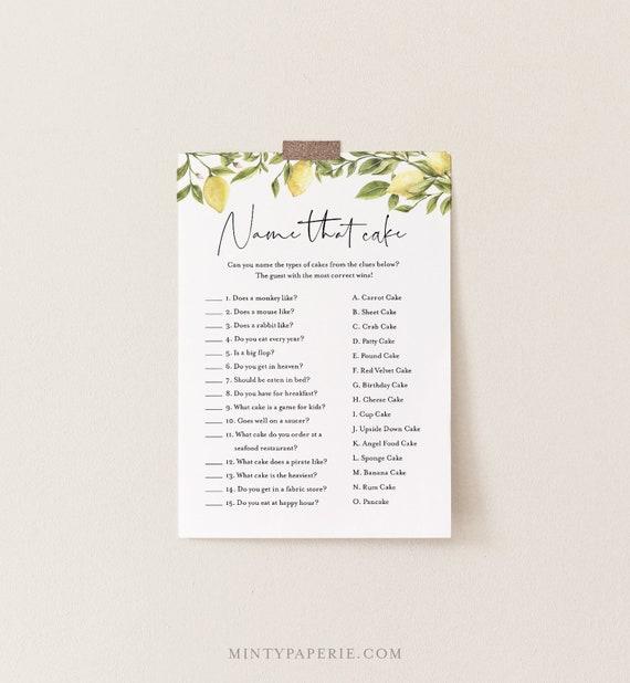 Name That Cake Bridal Shower Game, Printable Citrus Lemon Bridal Game, Instant Download, Editable Template, Templett, 5x7 #089-188BG