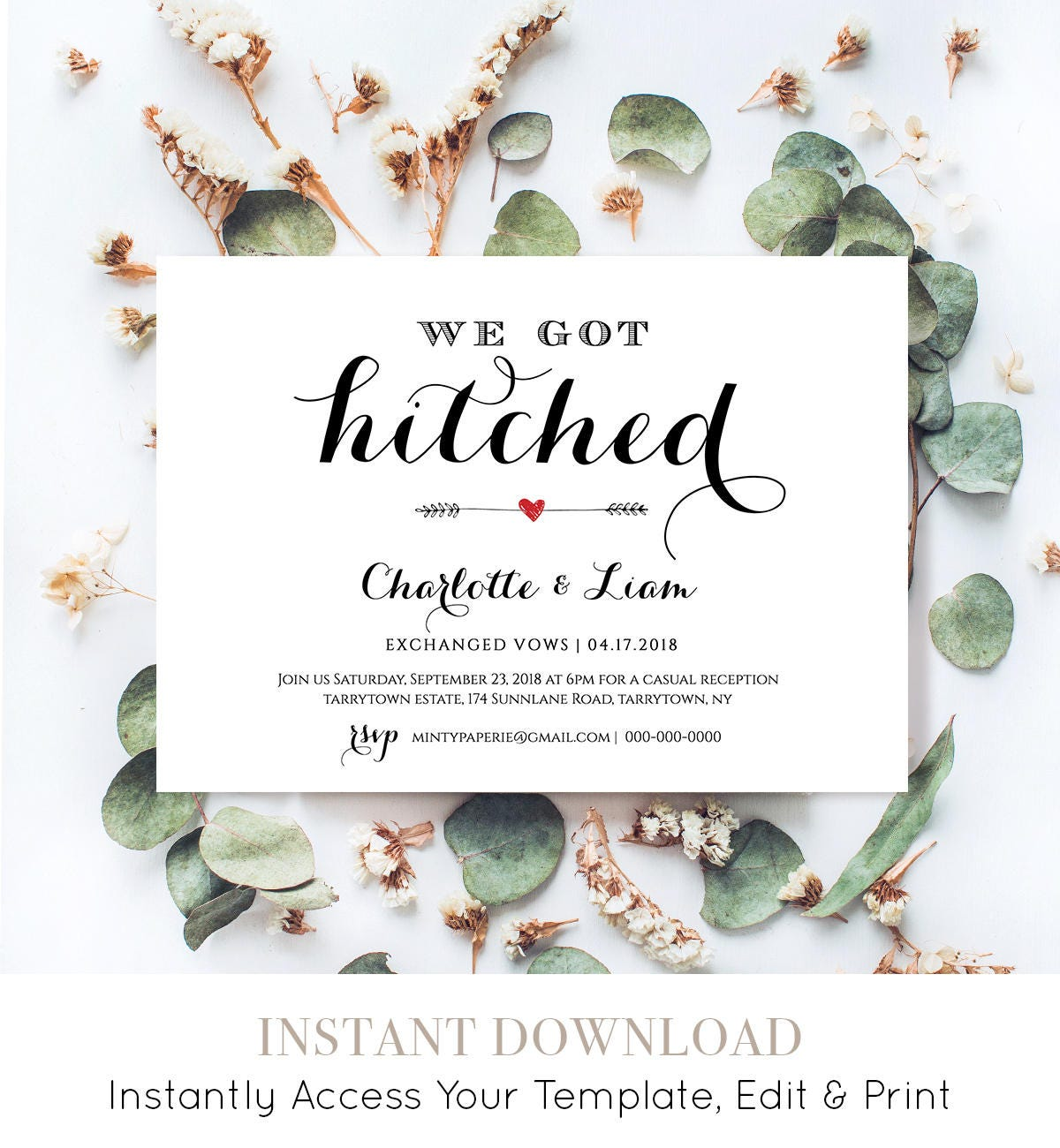 Elope Announcement Template Diy Wedding Elopement Invitation