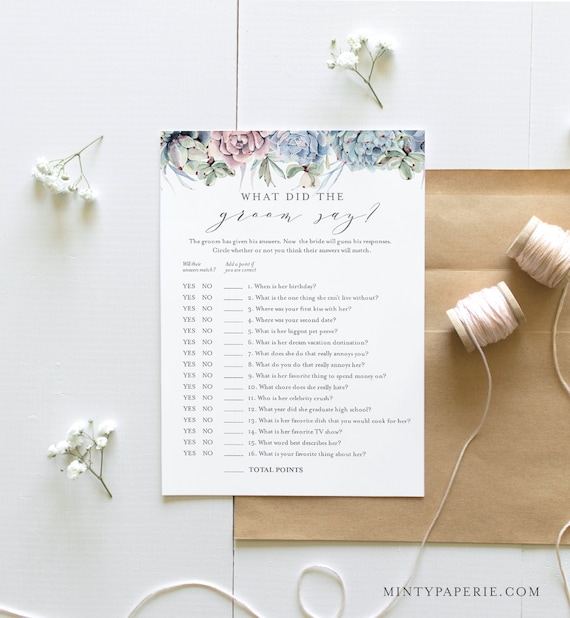 What Did the Groom Say, Bridal Shower Game, Printable Succulent Bridal Game, Editable Template, Instant Download, Templett, 5x7 #041-276BG