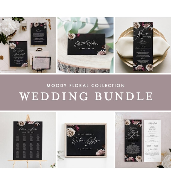 Moody Floral Wedding Bundle, Invitation Suite, Editable Templates, Blush & Purple Vintage Floral, Instant Download, Templett #009-BUNDLE