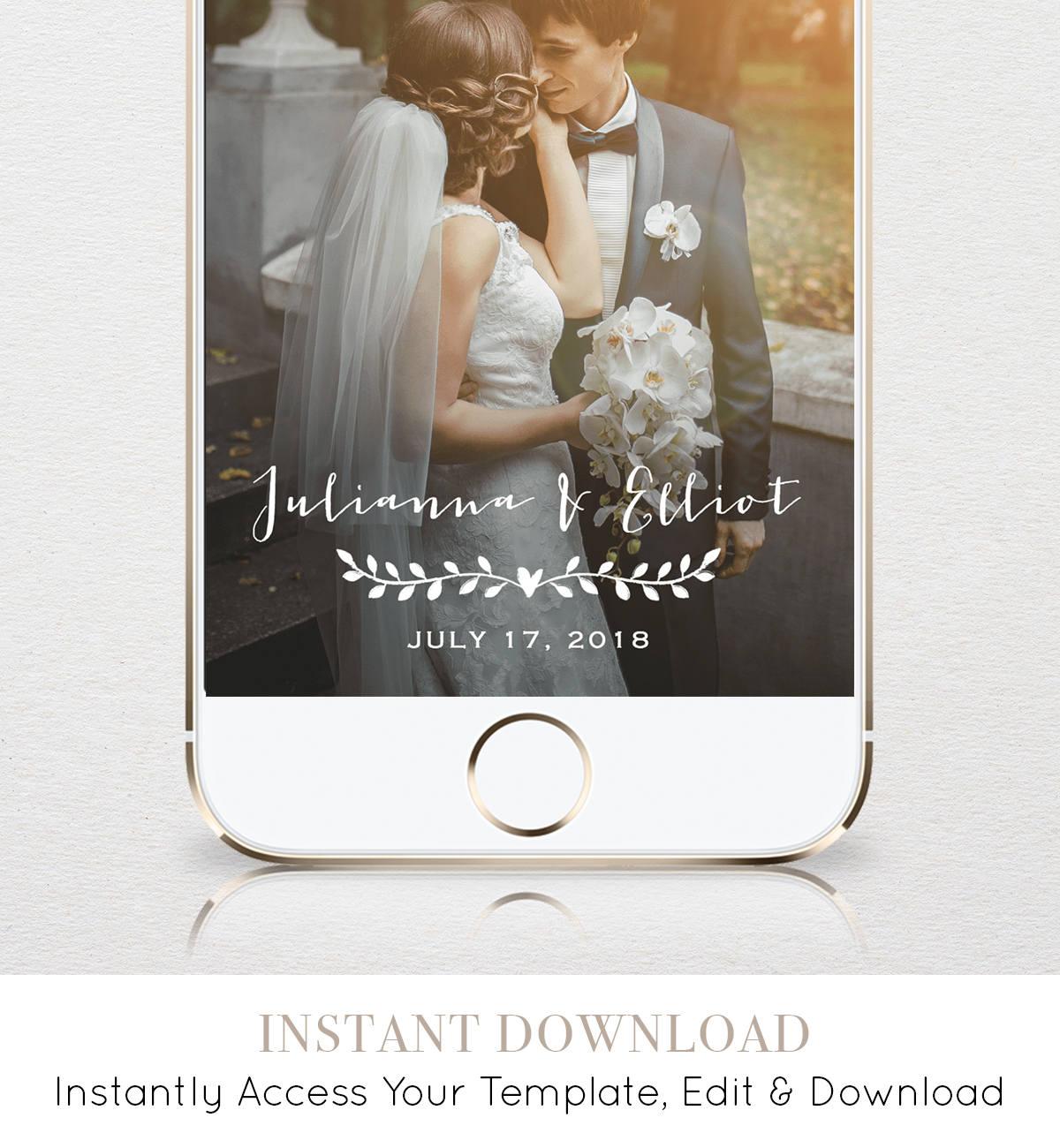 Wedding Snapchat Geofilter Custom Geofilter Rustic Snapchat Filter