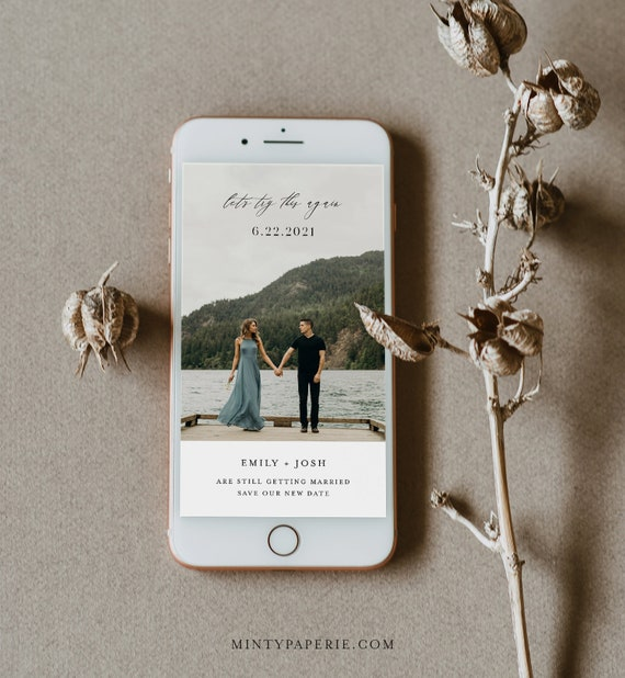 Postponed Wedding Date, Let's Try This Again, Change of Plans, Digital Announcement, 100% Editable, INSTANT DOWNLOAD, Templett #115PA