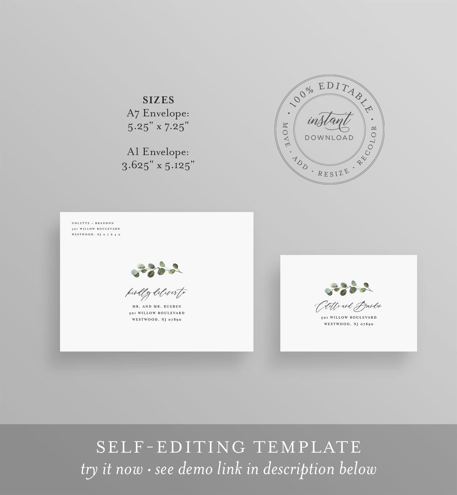 Greenery Address Template, Minimalist Wedding Envelope