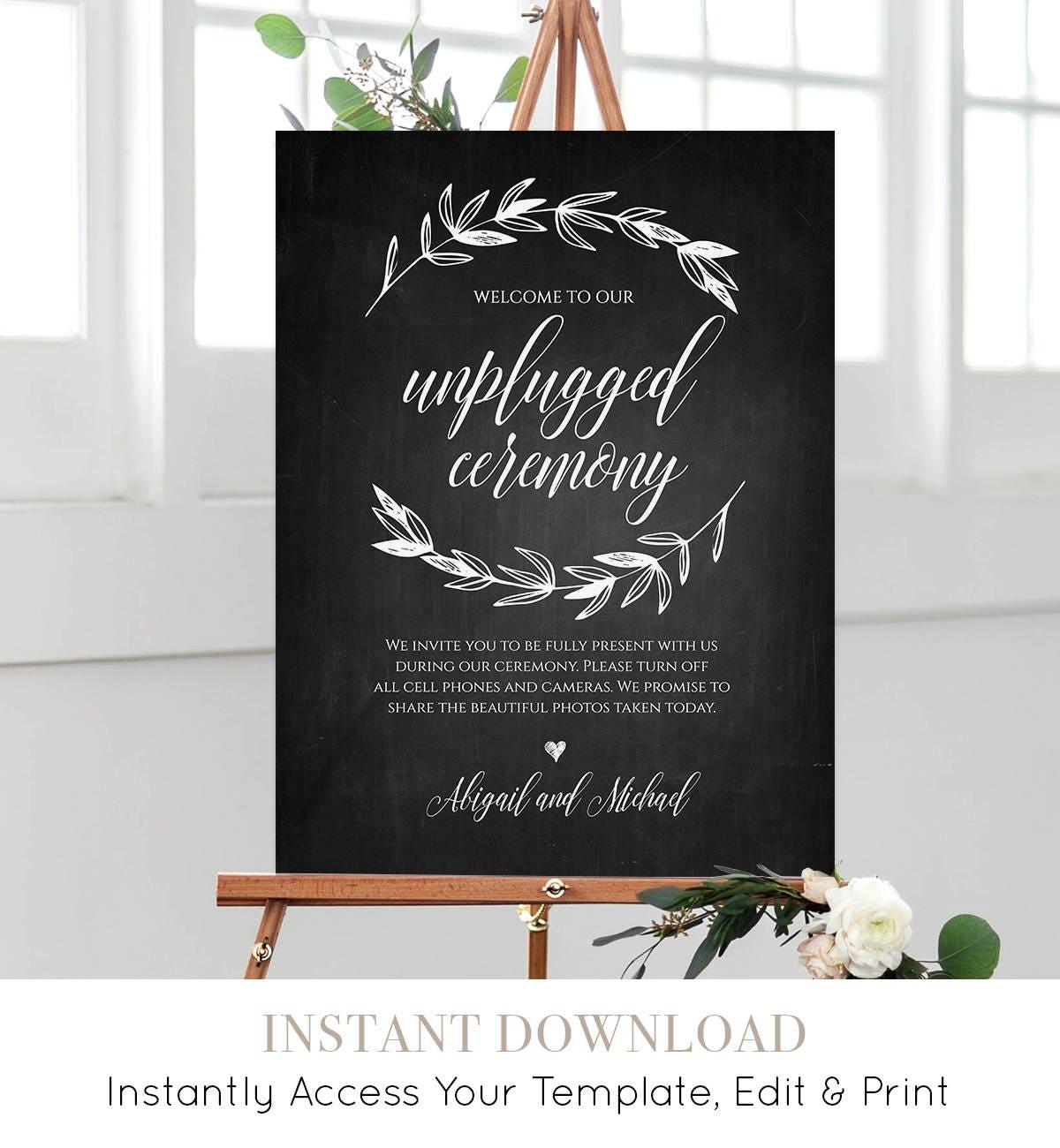 Diy Chalkboard Wedding Sign Template