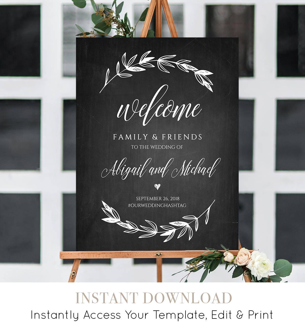 Wedding Welcome Sign Template Chalkboard Wedding Poster Printable