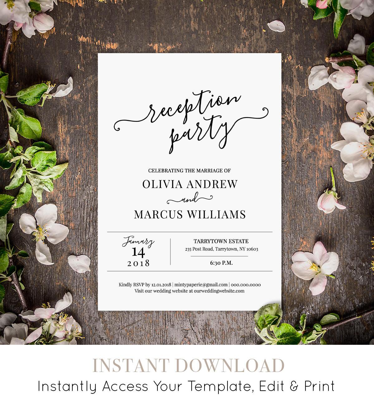 Wedding Reception Invitation, Reception Party Printable, Wedding ...
