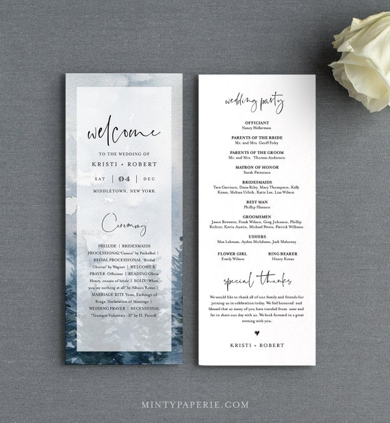 Winter Wedding Program Template, Printable Order of Service, Rustic Pine, Instant Download, 100% Editable Text, DIY, Templett #070-231WP
