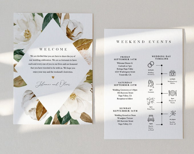 Magnolia Wedding Welcome Letter & Itinerary Template, Order of Events Timeline, Welcome Bag, INSTANT DOWNLOAD, 100% Editable Text #015-150WB