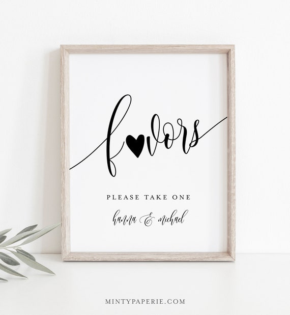 Wedding Favors Sign, Editable Template, Printable Favors Card, Modern Calligraphy, Tabletop Sign, Instant Download, Templett 8x10 #008-09S