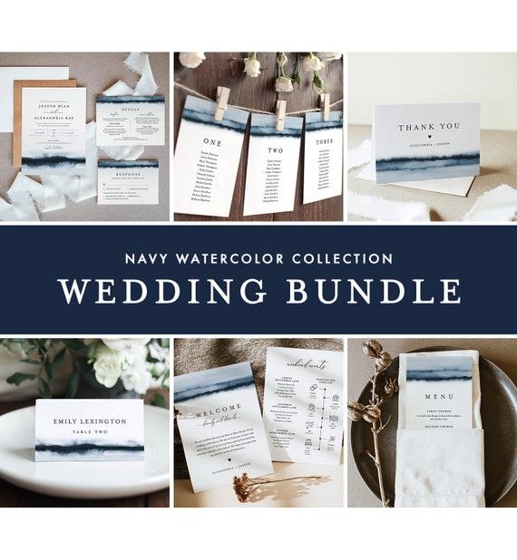 Navy Wedding Bundle, Watercolor Wedding Essential Templates, Invitation Suite, 100% Editable Text, Instant Download, Templett #093-BUNDLE
