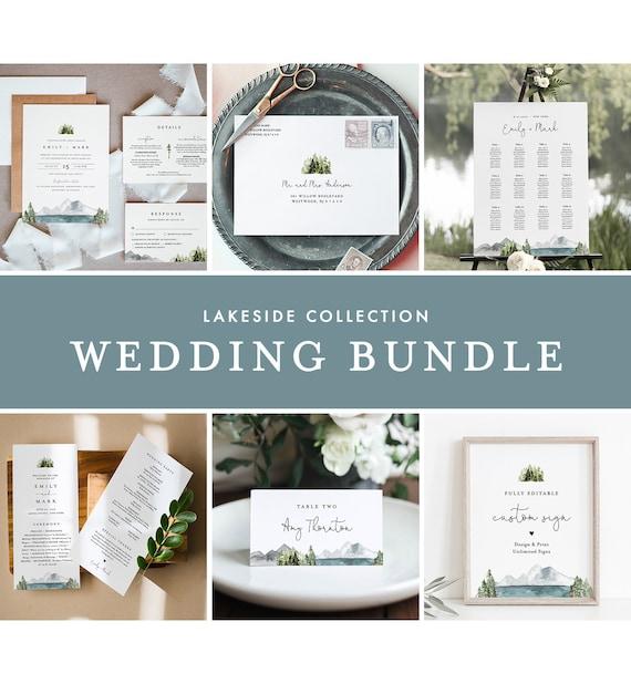 Lakeside Wedding Bundle, Mountain Pine Wedding Invitation Suite + Essentials, 100% Editable Template, Instant Download, Templett 017A-BUNDLE