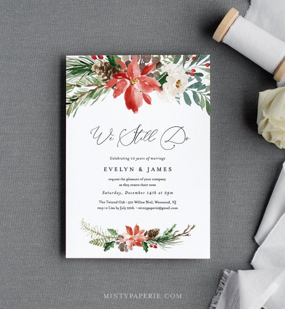 Winter Vow Renewal Invitation Template, Anniversary Invite, Holly Pine Wedding Vow, We Still Do, Editable Text, INSTANT DOWNLOAD #071-118VR