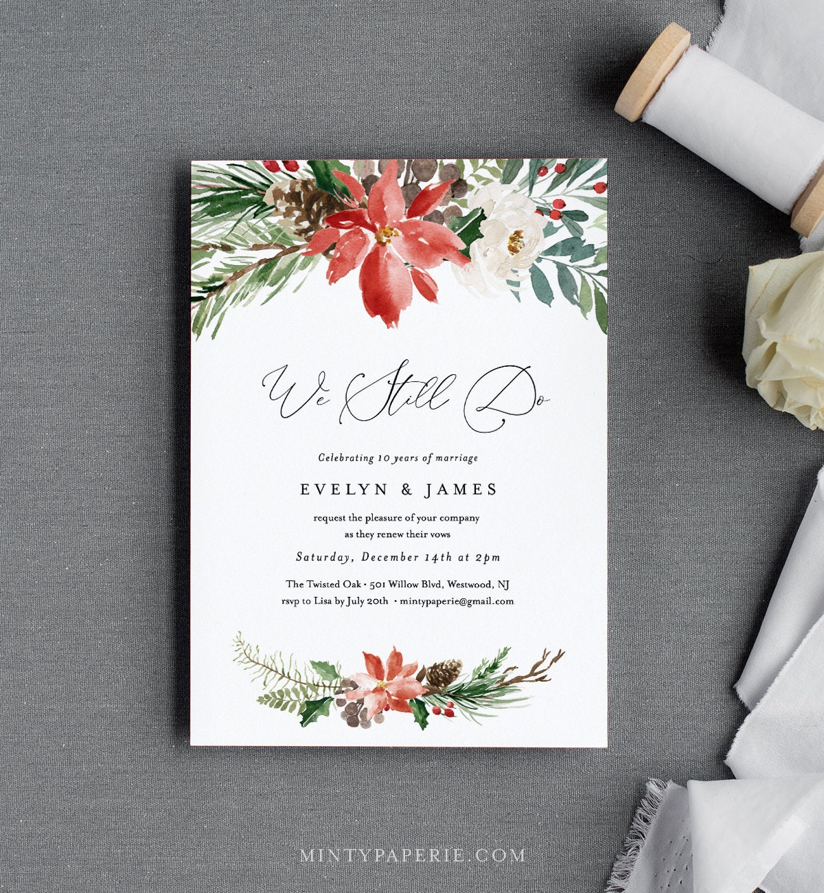 Winter Vow Renewal Invitation Template Anniversary Invite Holly