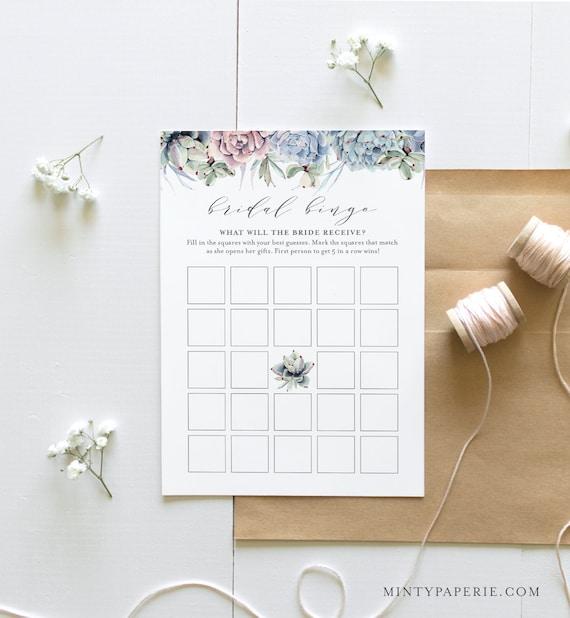 Bridal Bingo Game, Bridal Shower Printable, Succulent Bridal Shower Bingo Game Template, Instant Download, Editable, Templett #041-274BG