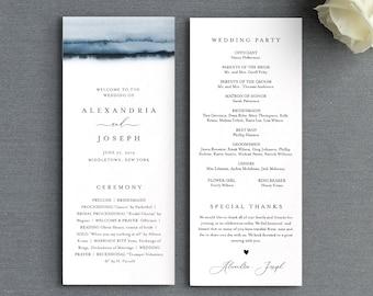 Watercolor Wedding Program Template, Printable Order of Service, Elegant, Modern, Instant Download, Editable Text, DIY, Templett #093A-232WP