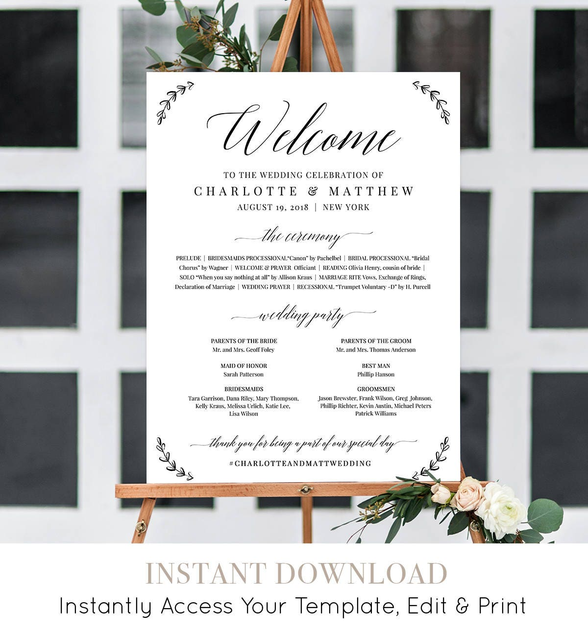 welcome sign wedding program sign order of service 100 editable