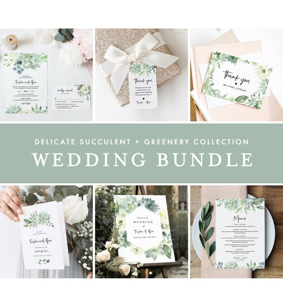 Delicate Succulent Wedding Bundle, Wedding Essential Templates, Invitation Suite, Editable Text, Instant Download, Templett #075-BUNDLE