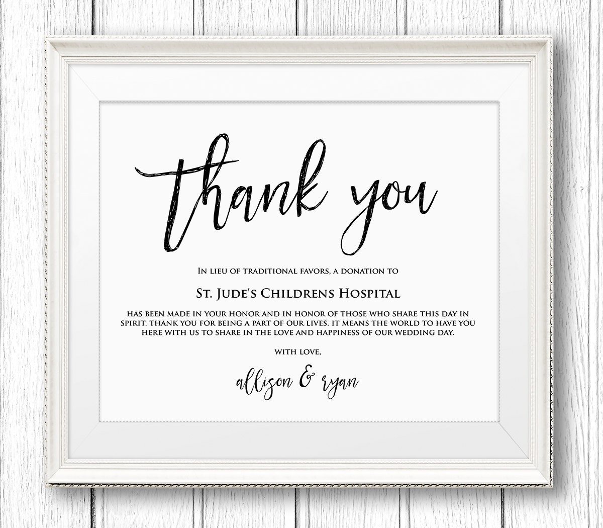 Lieu of Wedding Favors Sign, Thank You Charity Printable Sign ...