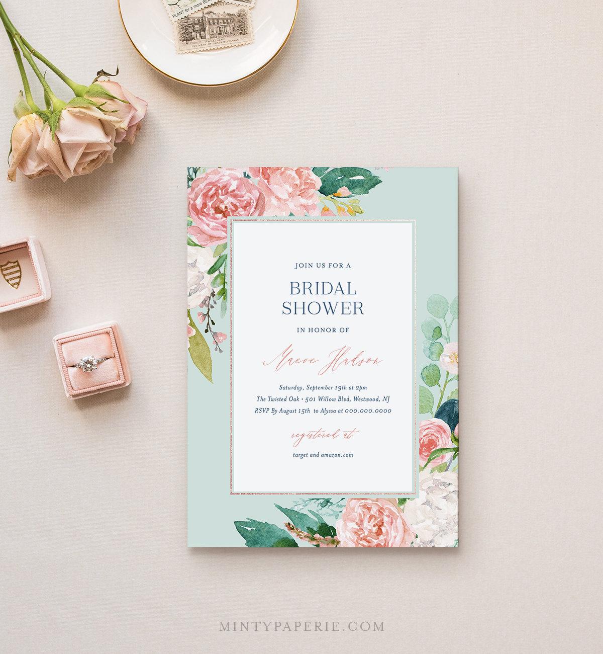 Mint Bridal Shower Invitation Template Printable Vintage Boho Floral