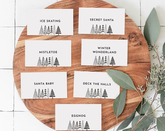 Christmas Pictionary Cards, Holiday Party Game Printable, Family Charade Game, Editable Template, Instant Download, Templett #0025-133CG