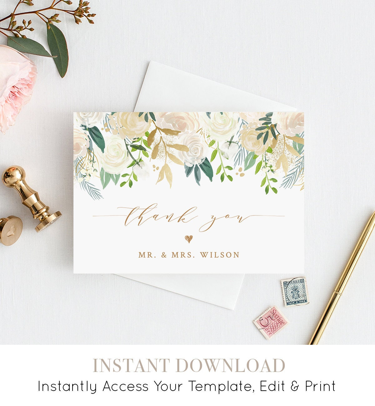 Thank You Card Template, Printable Wedding / Bridal Shower ...