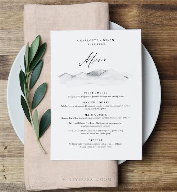 Mountain Wedding Menu Template, INSTANT DOWNLOAD, 100% Editable Text, Printable Dinner Menu Card, Rustic Wedding, Templett, DIY #004-144WM