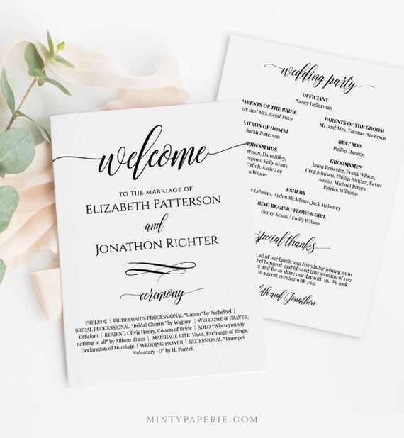 Wedding Fan Program, Printable Fan Program, Order of Service, DIY Program, Fully Editable Template, Instant Download, Templett #020-401WP