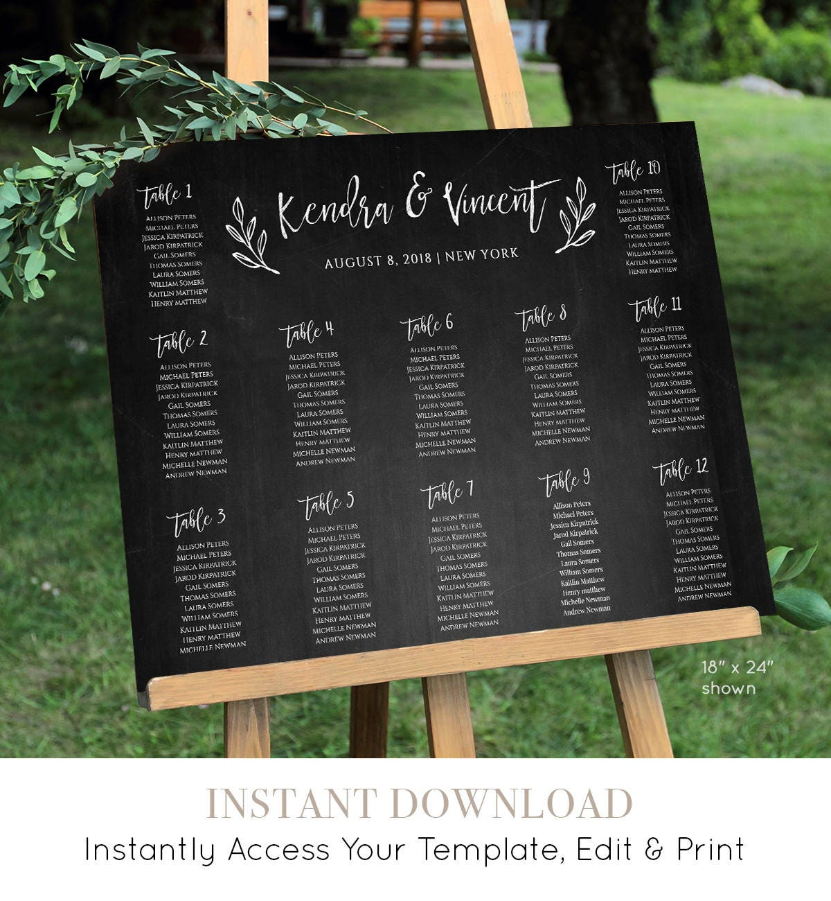 Wedding Seating Chart Template, Instant Download, 100% Editable, DIY ...