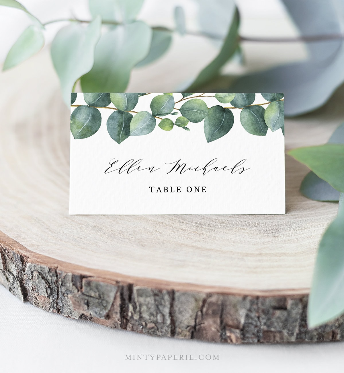 eucalyptus place card template instant download
