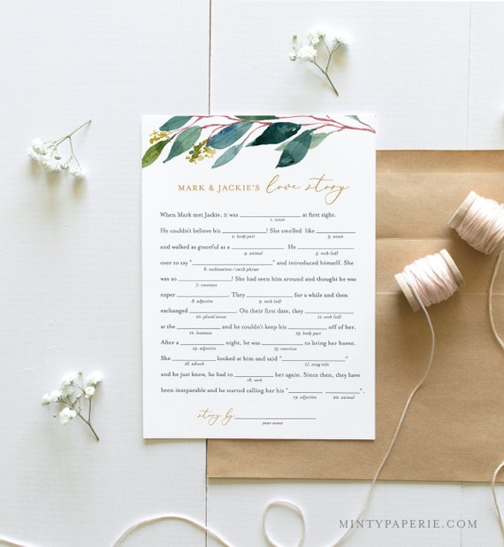 Mad Lib Bridal Shower Game, Instant Download, Editable Template, Customize Names, Greenery Bridal Shower, Wedding Libs, Printable #044-116BG